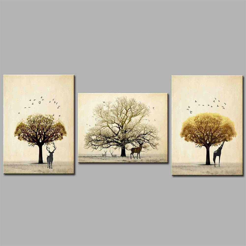 Hua Tuo Plant Style Stretched Frame Ready To Hang  Size 50 x 70CM A1707 - YELLOW BROWN 20 X 28 INCH (50CM X 70CM)
