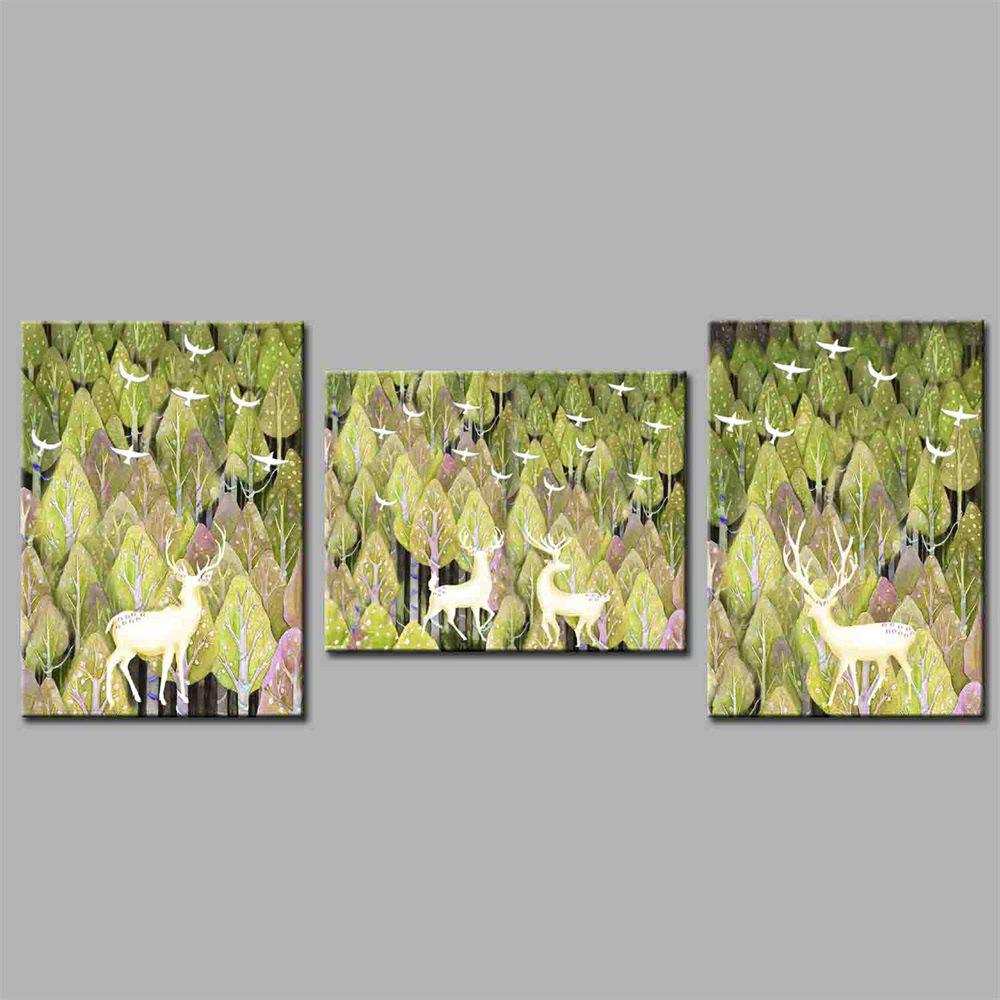 Hua Tuo A Deer Has You Style Stretched Frame Ready To Hang  Size 50 x 70CM A1708 - GREEN 20 X 28 INCH (50CM X 70CM)