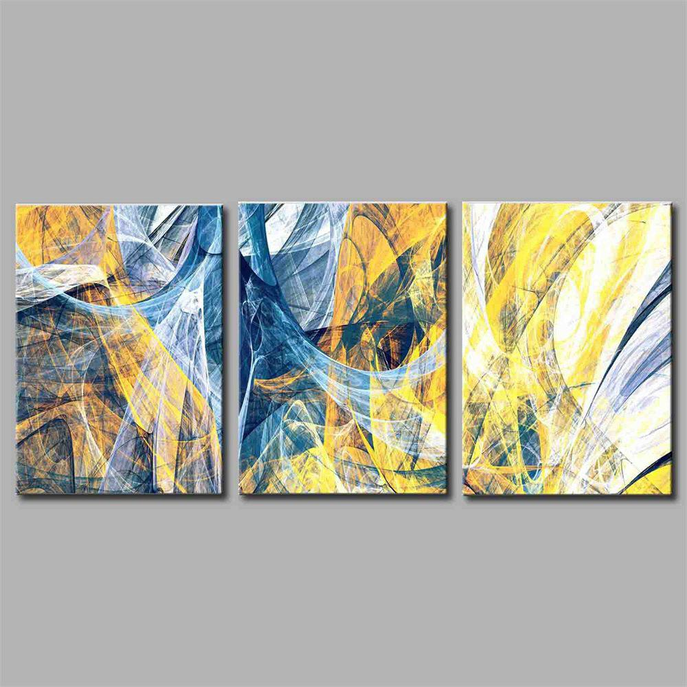 Hua Tuo Abstract Style Stretched Frame Ready To Hang Size 50 x 70CM A1715 - YELLOW/BLUE 20 X 28 INCH (50CM X 70CM)
