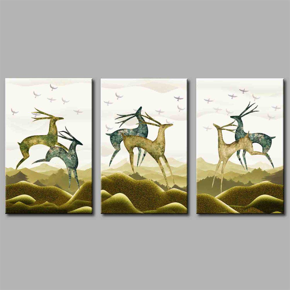 Hua Tuo Deer Style Stretched Frame Ready To Hang  Size 50 x 70CM A1719 - COLORMIX 20 X 28 INCH (50CM X 70CM)