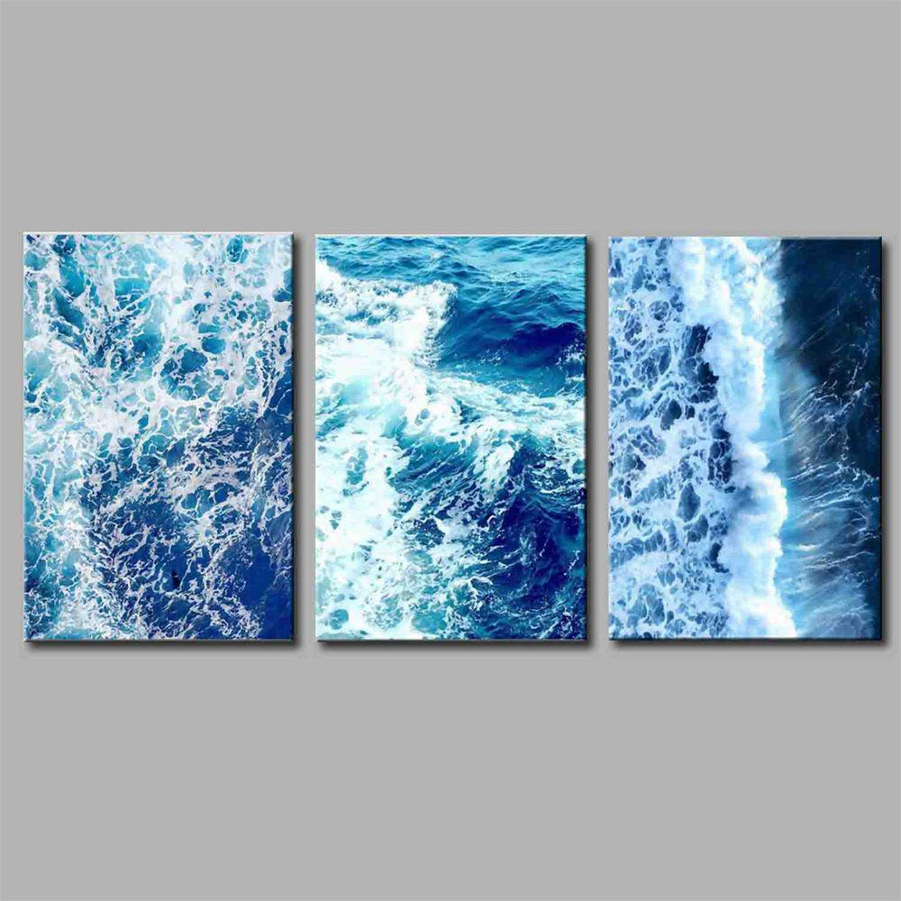 Hua Tuo Abstract Style Stretched Frame Ready To Hang Size 50 x 70CM A1726 - BLUE 20 X 28 INCH (50CM X 70CM)