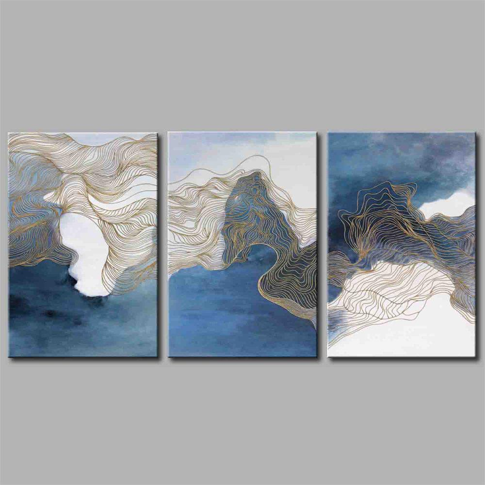 Hua Tuo Abstract Style Stretched Frame Ready To Hang Size 50 x 70CM A1730 - BLUE 20 X 28 INCH (50CM X 70CM)
