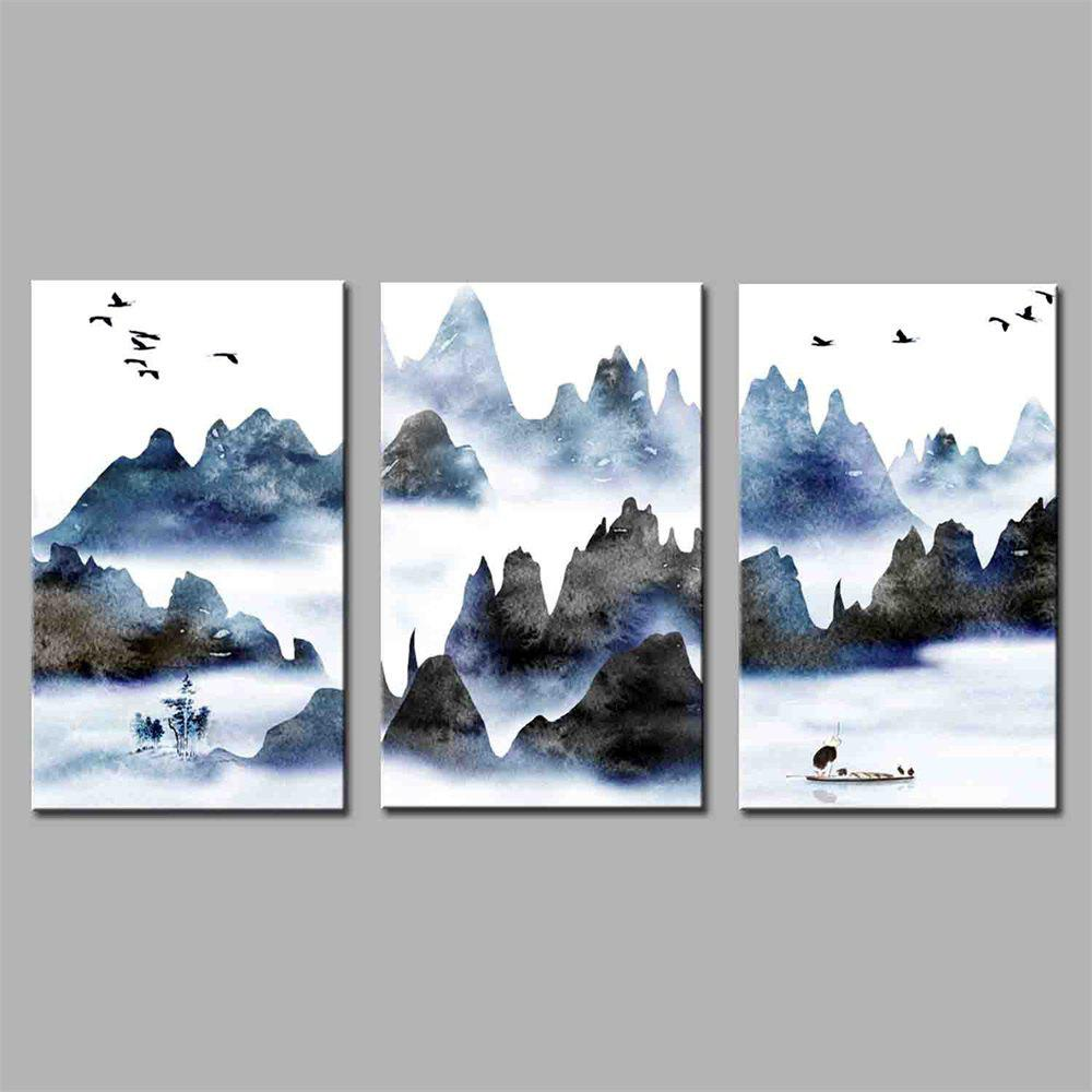 Hua Tuo Landscape Style Stretched Frame Ready To Hang Size 50 x 70CM A1736 - BLUE 20 X 28 INCH (50CM X 70CM)