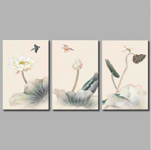 Hua Tuo A1737 Lotus Style Stretched Frame Ready To Hang Size 50 x 70CM - COLORFUL FLOWER 20 X 28 INCH (50CM X 70CM)