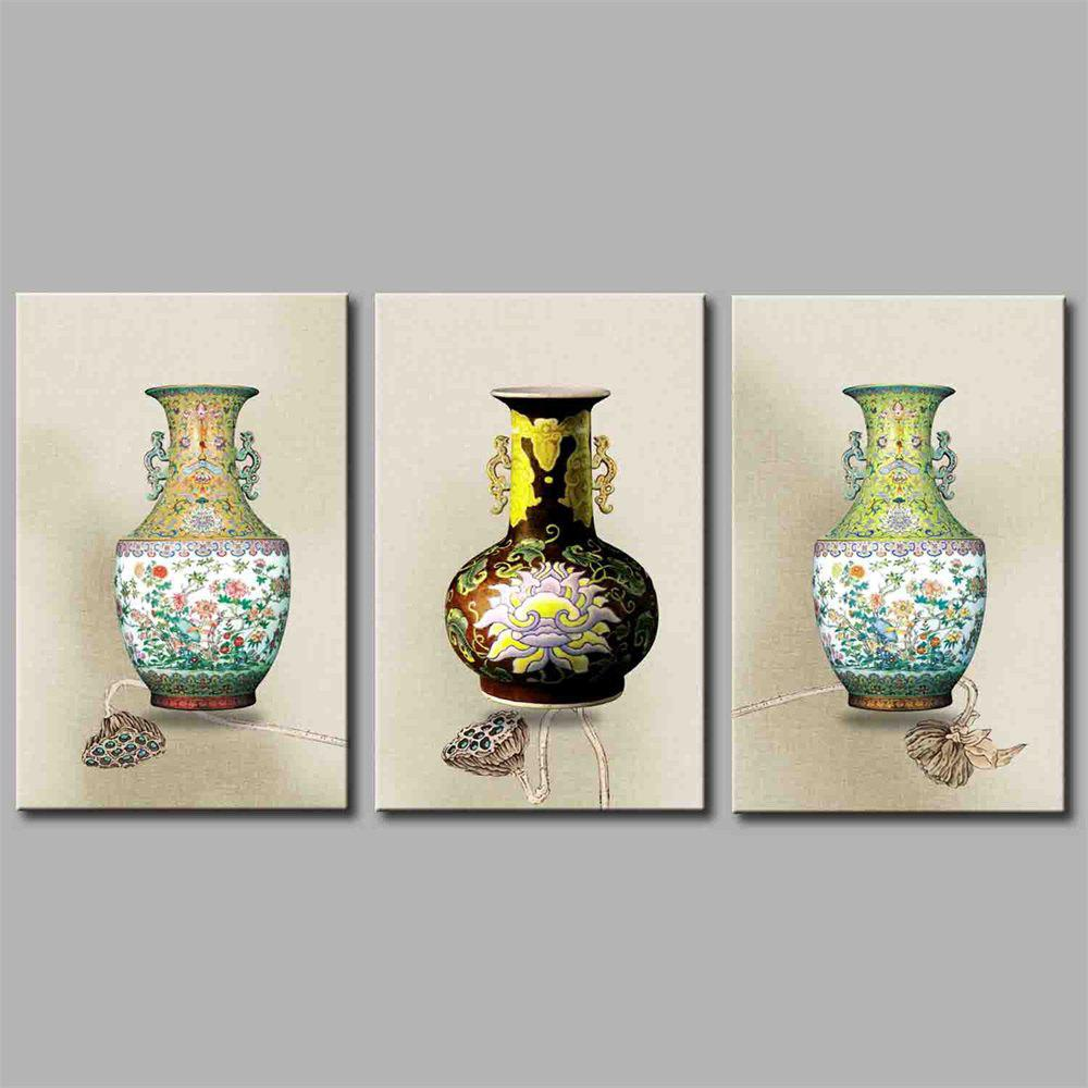 Hua Tuo A1738 Vase Style Stretched Frame Ready To Hang Size 50 x 70CM - COLORMIX 20 X 28 INCH (50CM X 70CM)