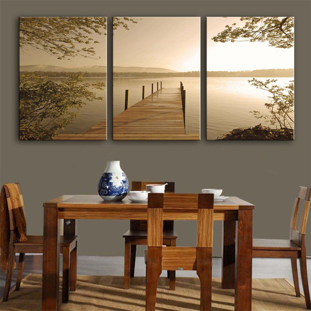 Special Design Frameless Paintings Scenery Print 3PCS - LIGHT YELLOW 9 X 13 INCH (24CM X 34CM)
