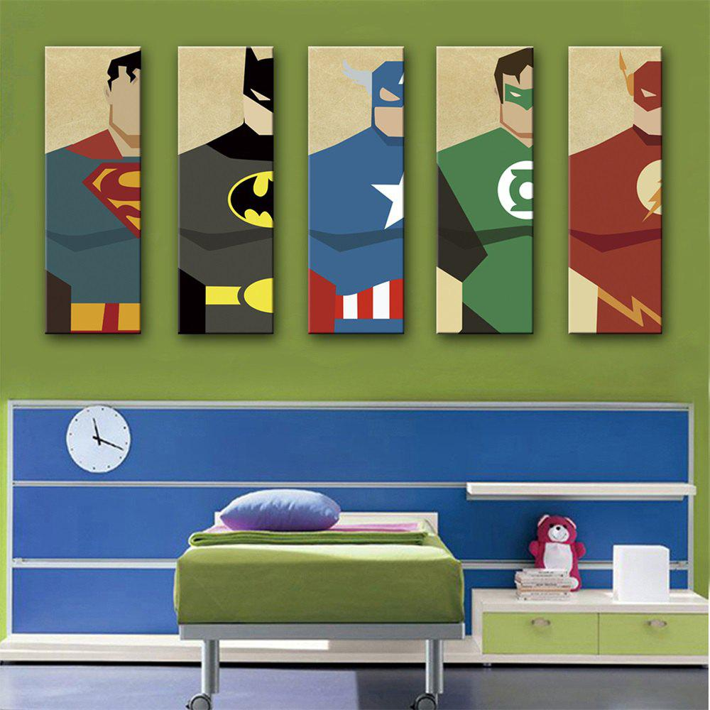 Special Design Frameless Paintings Superman Print 5PCS - BLUE 12 X 35 INCH (30CM X 90CM)
