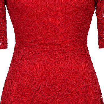 New Style Woman Elegant Summer Fashion Short Sleeve Sexy Lace O Neck Party Dress - RED 2XL