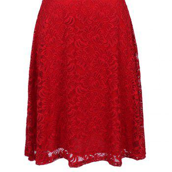 New Style Woman Elegant Summer Fashion Short Sleeve Sexy Lace O Neck Party Dress - RED RED