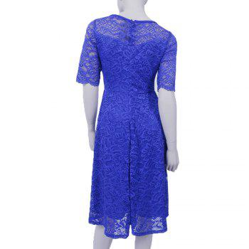 New Style Woman Elegant Summer Fashion Short Sleeve Sexy Lace O Neck Party Dress - BLUE M