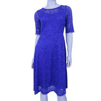 New Style Woman Elegant Summer Fashion Short Sleeve Sexy Lace O Neck Party Dress - BLUE BLUE