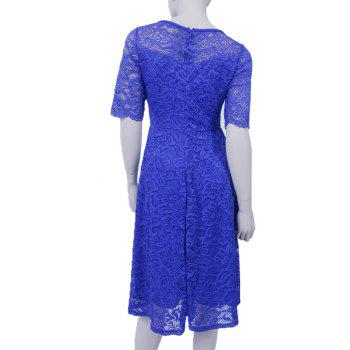 New Style Woman Elegant Summer Fashion Short Sleeve Sexy Lace O Neck Party Dress - BLUE L