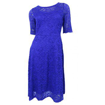 New Style Woman Elegant Summer Fashion Short Sleeve Sexy Lace O Neck Party Dress - BLUE S