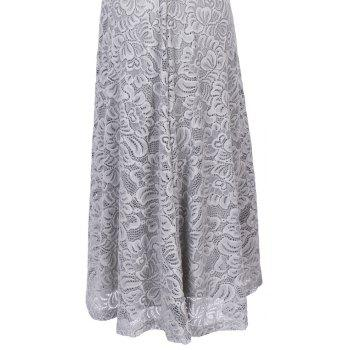 New Style Woman Elegant Summer Fashion Short Sleeve Sexy Lace O Neck Party Dress - SILVER GRAY L