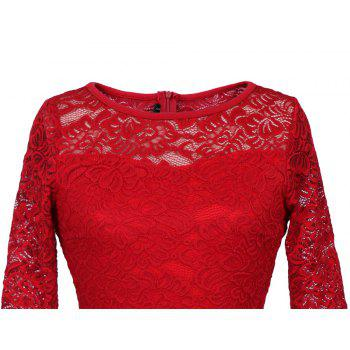 New Style Woman Elegant Summer Fashion Short Sleeve Sexy Lace O Neck Party Dress - RED M