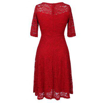 New Style Woman Elegant Summer Fashion Short Sleeve Sexy Lace O Neck Party Dress - RED S