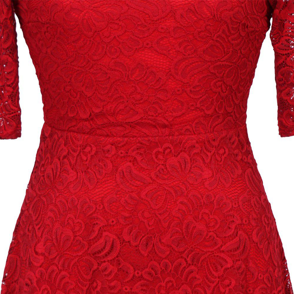 New Style Woman Elegant Summer Fashion Short Sleeve Sexy Lace O Neck Party Dress - RED L