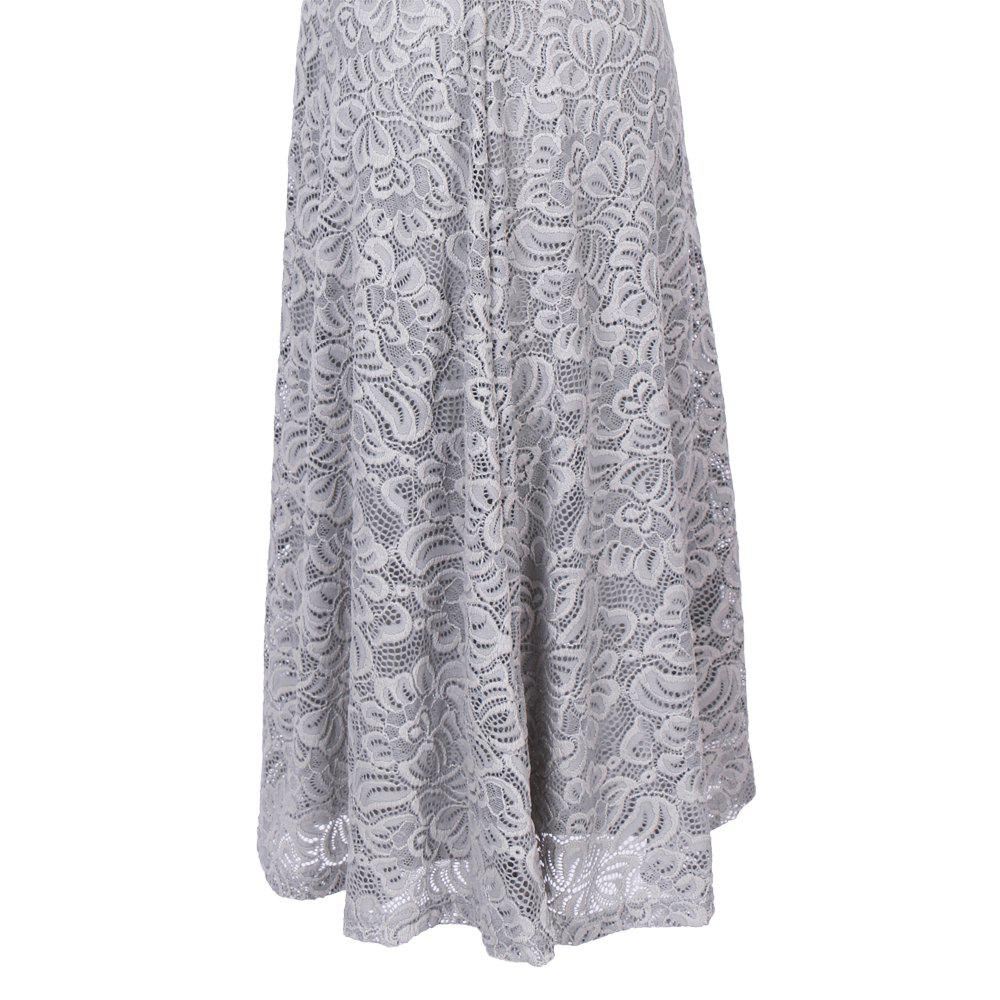 New Style Woman Elegant Summer Fashion Short Sleeve Sexy Lace O Neck Party Dress - SILVER GRAY S