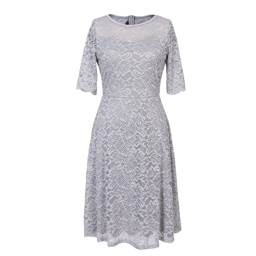 New Style Woman Elegant Summer Fashion Short Sleeve Sexy Lace O Neck Party Dress - SILVER GRAY M