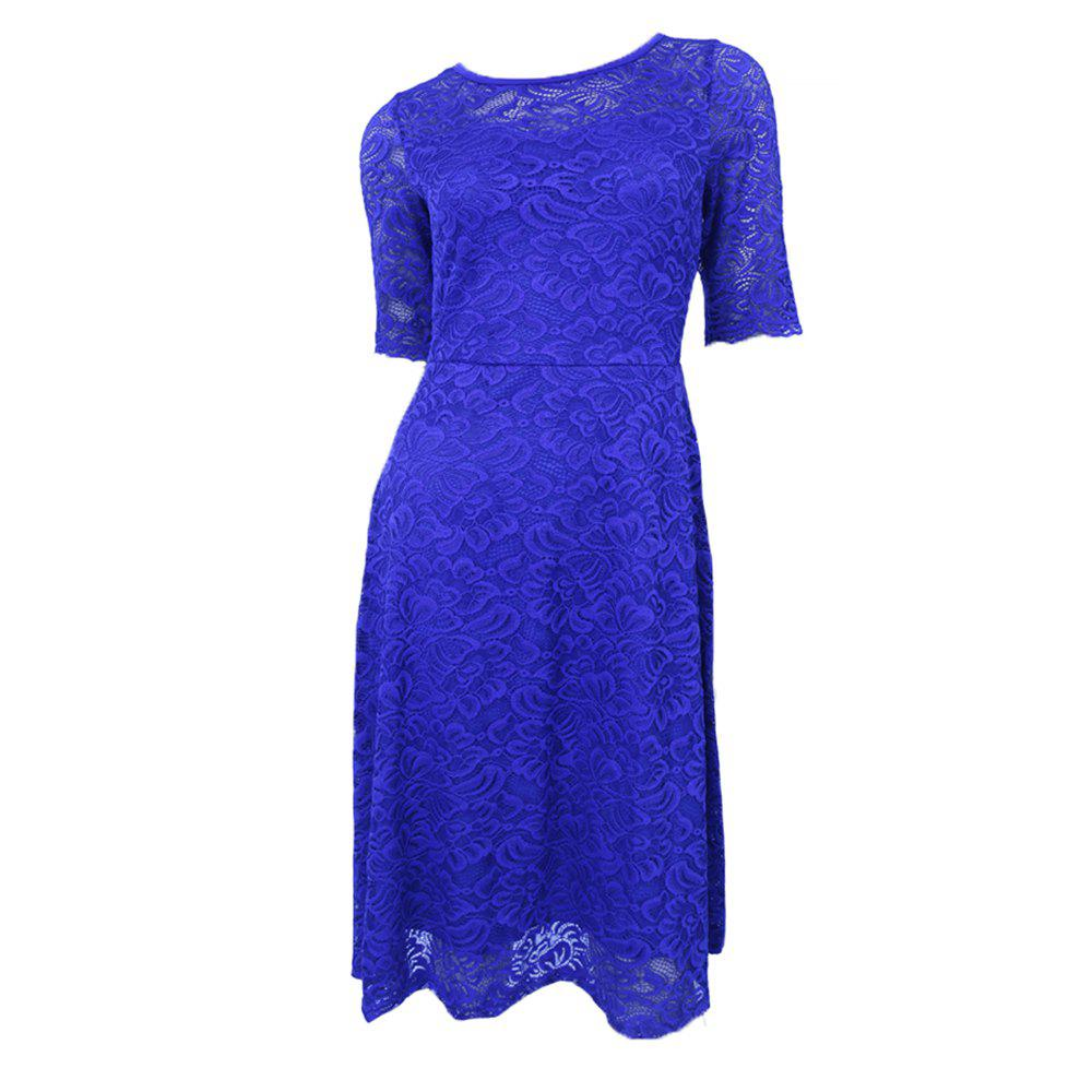 New Style Woman Elegant Summer Fashion Short Sleeve Sexy Lace O Neck Party Dress - BLUE XL