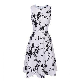 Hot Sale 2017 Women Sexy Vintage Summer Robe Retro Swing Casual 50s Floral Printed Boat Neck  A Line Dress - WHITE WHITE