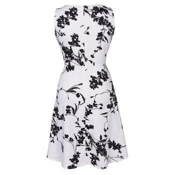 Hot Sale 2017 Women Sexy Vintage Summer Robe Retro Swing Casual 50s Floral Printed Boat Neck  A Line Dress - WHITE M