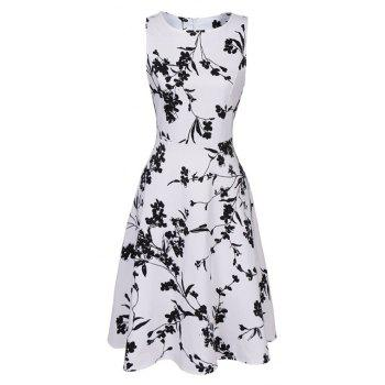 Hot Sale 2017 Women Sexy Vintage Summer Robe Retro Swing Casual 50s Floral Printed Boat Neck  A Line Dress - WHITE S