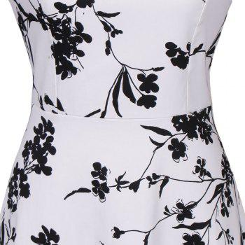 Hot Sale 2017 Women Sexy Vintage Summer Robe Retro Swing Casual 50s Floral Printed Boat Neck  A Line Dress - WHITE XL
