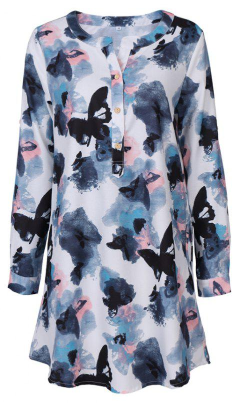 0f2ce83b 2017 Autumn New Style White Butterfly Flower Long Sleeve Blouse Women Chiffon  Blouse Floral Print Long