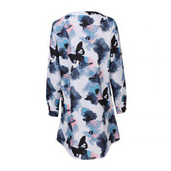 2017 Autumn New Style White Butterfly Flower Long Sleeve Blouse  Women Chiffon Blouse Floral Print Long T-Shirts - WHITE 2XL