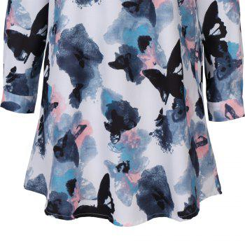 2017 Autumn New Style White Butterfly Flower Long Sleeve Blouse  Women Chiffon Blouse Floral Print Long T-Shirts - WHITE L