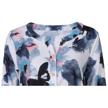 2017 Autumn New Style White Butterfly Flower Long Sleeve Blouse  Women Chiffon Blouse Floral Print Long T-Shirts - WHITE S