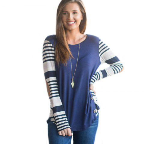 Women's Fashionable Round Neck Stripes Stitching Button Long-Sleeved T-Shirt - BLUE L
