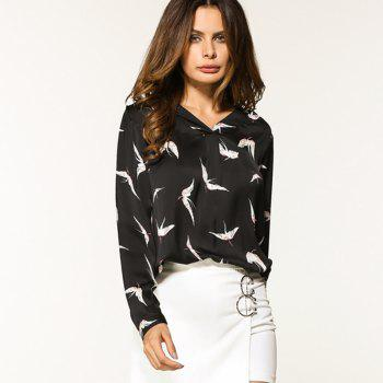 Women's Sexy V-Neck Bird Print Long-Sleeved Shirt - BLACK XL