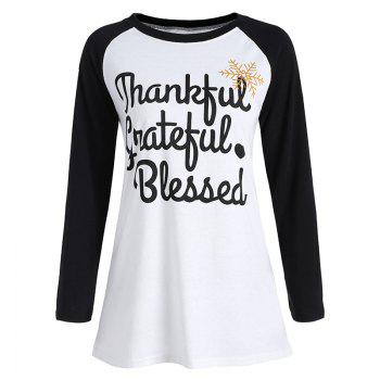 Women's Stylish Round Neck Spell Color Letters Printed T-Shirt - WHITE WHITE