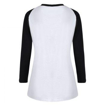 Women's Stylish Round Neck Spell Color Letters Printed T-Shirt - WHITE L