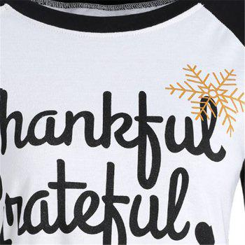 Women's Stylish Round Neck Spell Color Letters Printed T-Shirt - WHITE 2XL