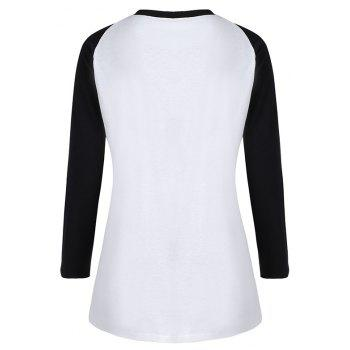 Women's Stylish Round Neck Spell Color Letters Printed T-Shirt - WHITE XL