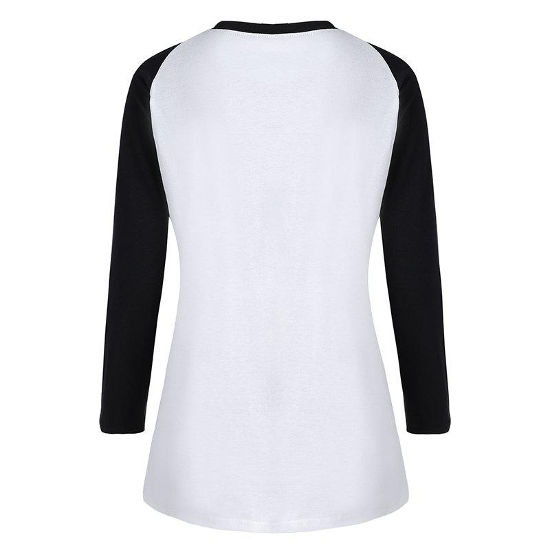 Women's Stylish Round Neck Spell Color Letters Printed T-Shirt - WHITE S