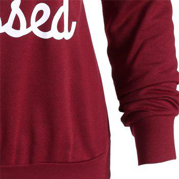 Women's Fashion Long-Sleeved Letters Printed  Hooded Sweatshirt - RED L