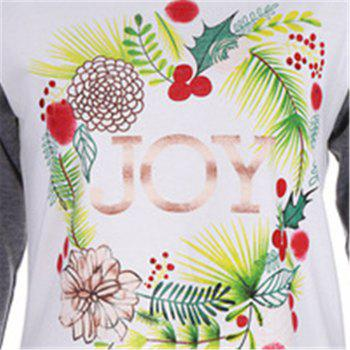 Women's Fashion Spell Color Printing Long-Sleeved T-Shirt - WHITE / GREY WHITE / GREY