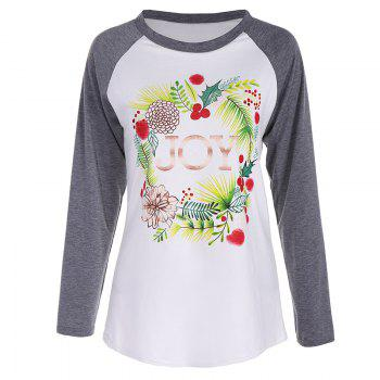 Women's Fashion Spell Color Printing Long-Sleeved T-Shirt - WHITE + GREY WHITE / GREY