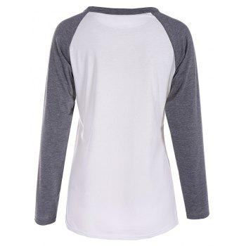Women's Fashion Spell Color Printing Long-Sleeved T-Shirt - WHITE / GREY XL