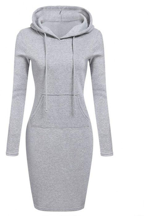 Women's Fashion Solid Color Pocket Long Hoodie - GRAY M