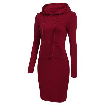 Women's Fashion Solid Color Pocket Long Hoodie - RED M