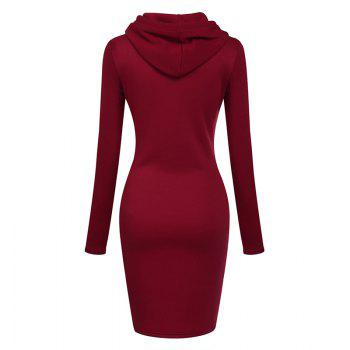 Women's Fashion Solid Color Pocket Long Hoodie - RED L