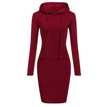 Women's Fashion Solid Color Pocket Long Hoodie - RED RED