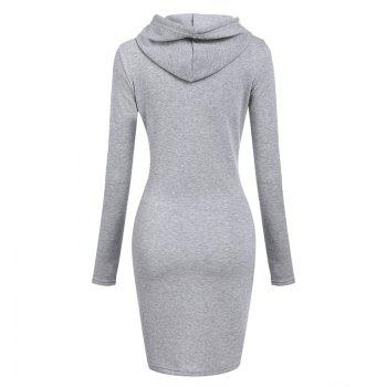 Women's Fashion Solid Color Pocket Long Hoodie - GRAY GRAY