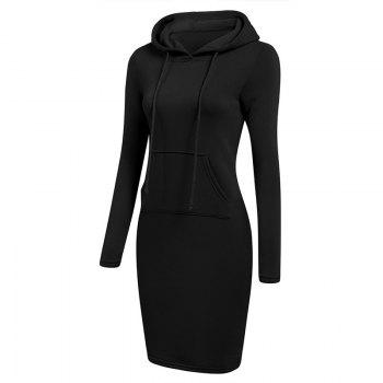 Women's Fashion Solid Color Pocket Long Hoodie - BLACK S