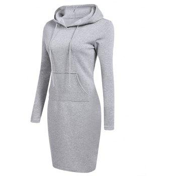 Women's Fashion Solid Color Pocket Long Hoodie - GRAY S